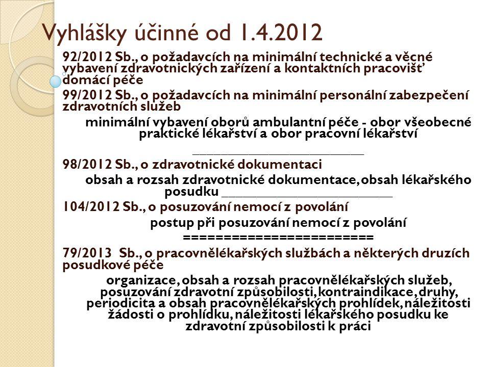 Vyhlášky účinné od 1.4.2012 92/2012 Sb., o požadavcích na minimální technické a věcné vybavení zdravotnických zařízení a kontaktních pracovišť domácí