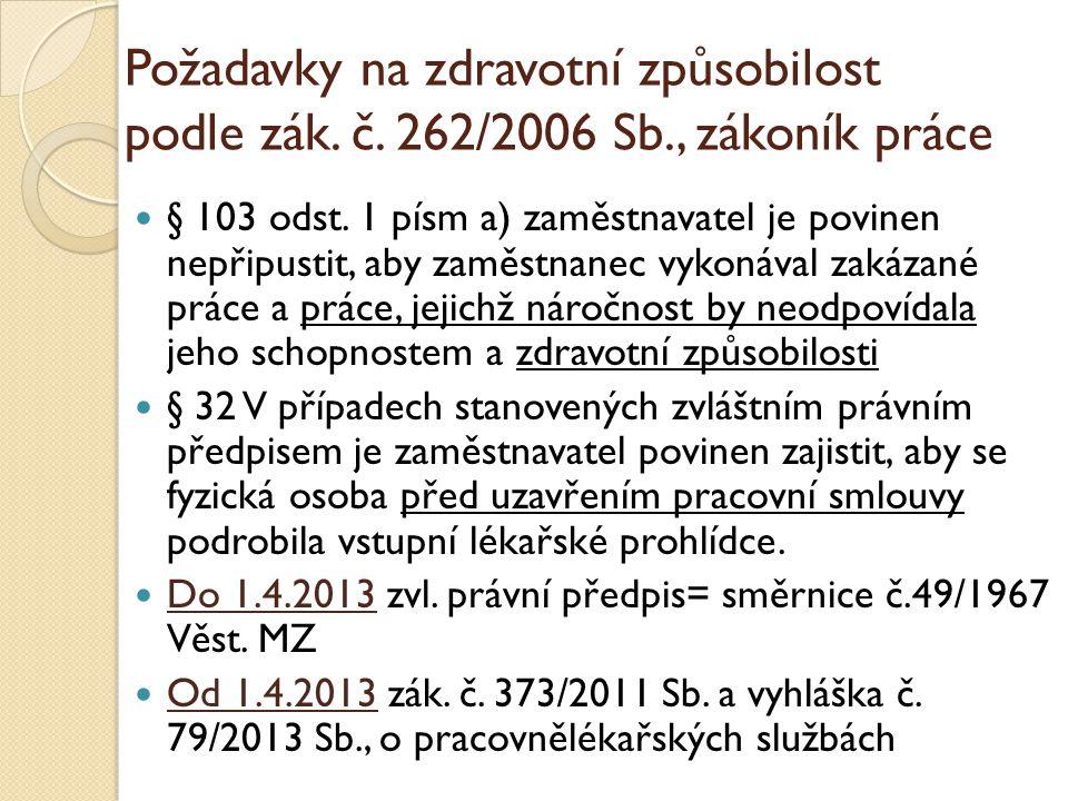 Požadavky na zdravotní způsobilost podle zák. č. 262/2006 Sb., zákoník práce  § 103 odst. 1 písm a) zaměstnavatel je povinen nepřipustit, aby zaměstn