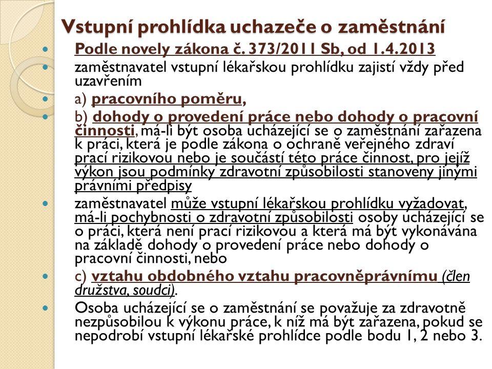 Vstupní prohlídka uchazeče o zaměstnání  Podle novely zákona č. 373/2011 Sb, od 1.4.2013  zaměstnavatel vstupní lékařskou prohlídku zajistí vždy pře