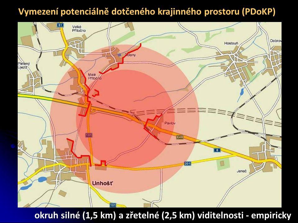 Vymezení potenciálně dotčeného krajinného prostoru (PDoKP) okruh silné (1,5 km) a zřetelné (2,5 km) viditelnosti - empiricky
