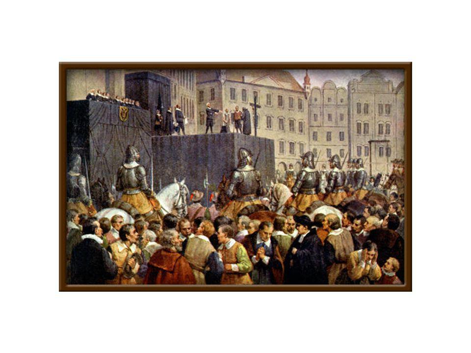 """Potrestání Čechů •3 měsíce po bitvě na bitvě na Bílé Hoře se nedělo """"nic •Ovšem poté nastal krutý trest pro 3 pány,7 rytířů a 17 měšťanů •POPRAVA 27 ČESKÝCH PÁNU"""