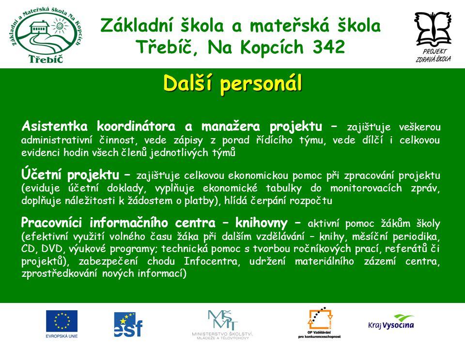 Základní škola a mateřská škola Třebíč, Na Kopcích 342 Další personál Asistentka koordinátora a manažera projektu – zajišťuje veškerou administrativní