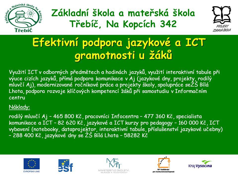 Základní škola a mateřská škola Třebíč, Na Kopcích 342 Efektivní podpora jazykové a ICT gramotnosti u žáků Využití ICT v odborných předmětech a hodiná