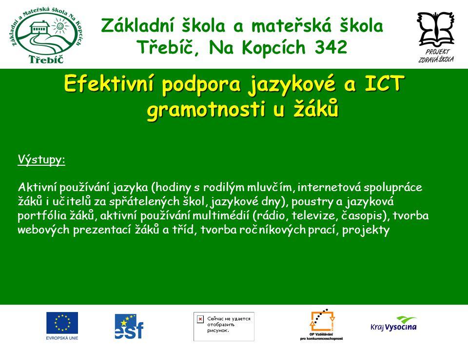Základní škola a mateřská škola Třebíč, Na Kopcích 342 Efektivní podpora jazykové a ICT gramotnosti u žáků Výstupy: Aktivní používání jazyka (hodiny s