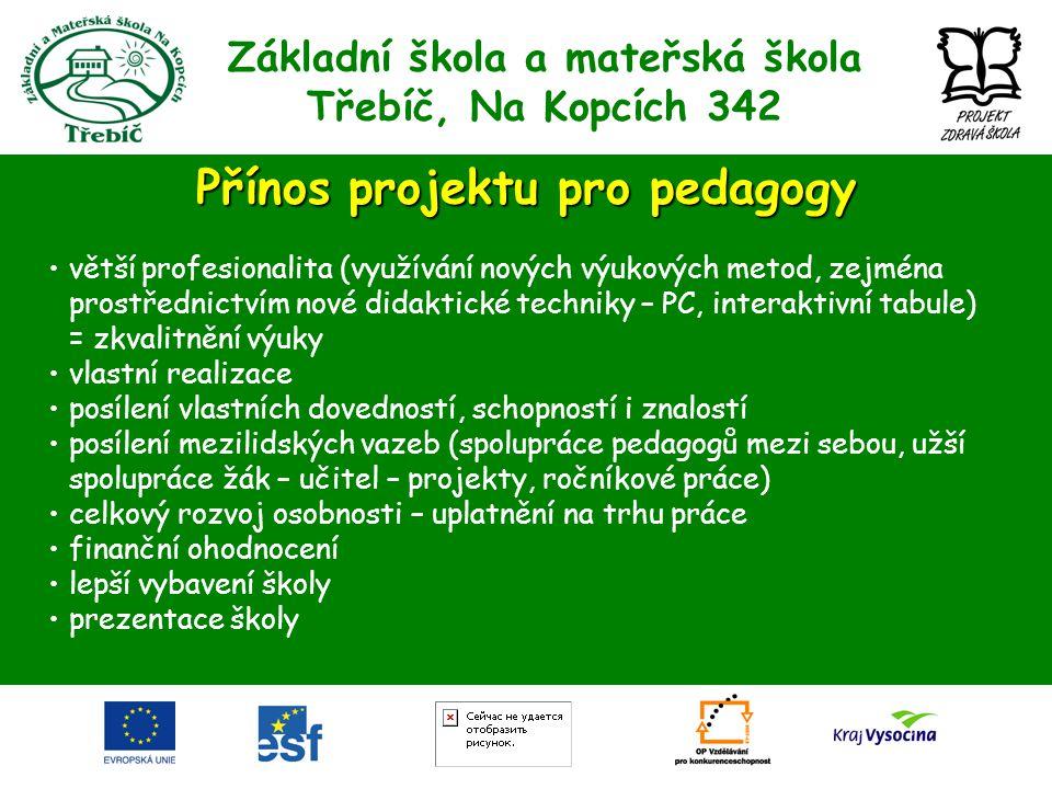 Základní škola a mateřská škola Třebíč, Na Kopcích 342 Přínos projektu pro pedagogy •větší profesionalita (využívání nových výukových metod, zejména p