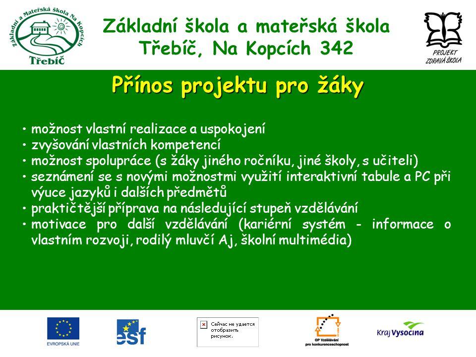 Základní škola a mateřská škola Třebíč, Na Kopcích 342 Přínos projektu pro žáky •možnost vlastní realizace a uspokojení •zvyšování vlastních kompetenc