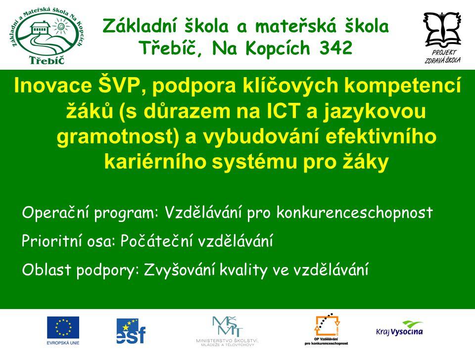 Základní škola a mateřská škola Třebíč, Na Kopcích 342 Inovace ŠVP, podpora klíčových kompetencí žáků (s důrazem na ICT a jazykovou gramotnost) a vybu