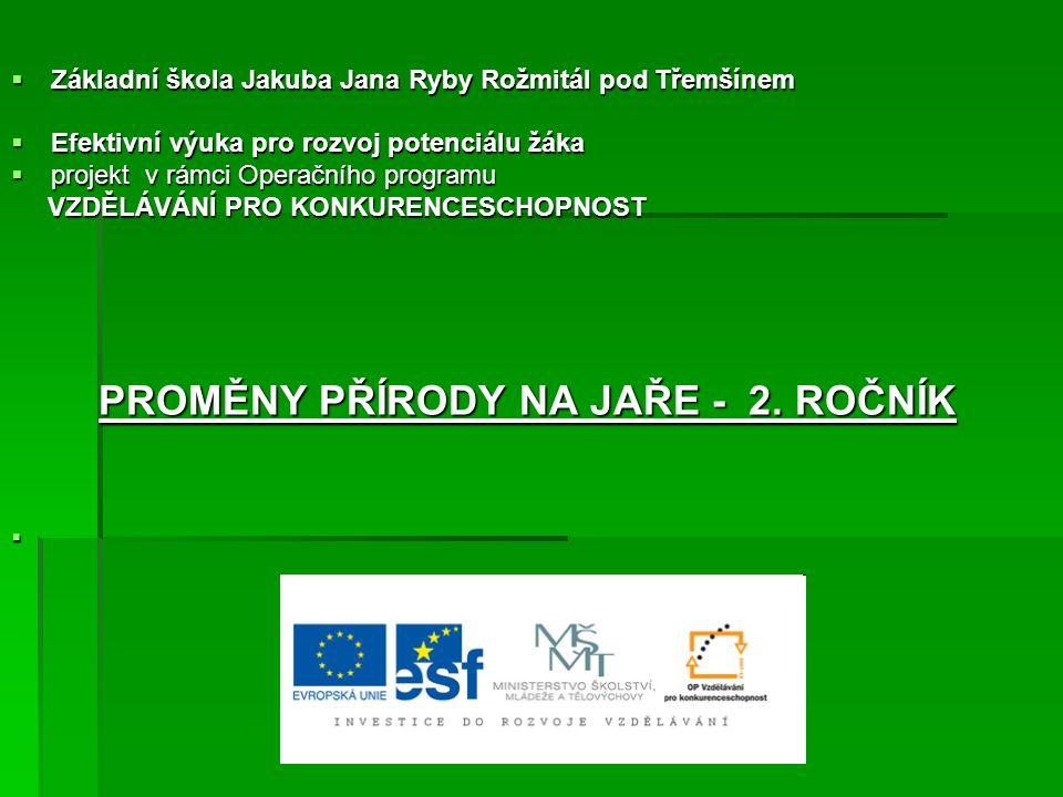  Základní škola Jakuba Jana Ryby Rožmitál pod Třemšínem  Efektivní výuka pro rozvoj potenciálu žáka  projekt v rámci Operačního programu VZDĚLÁVÁNÍ