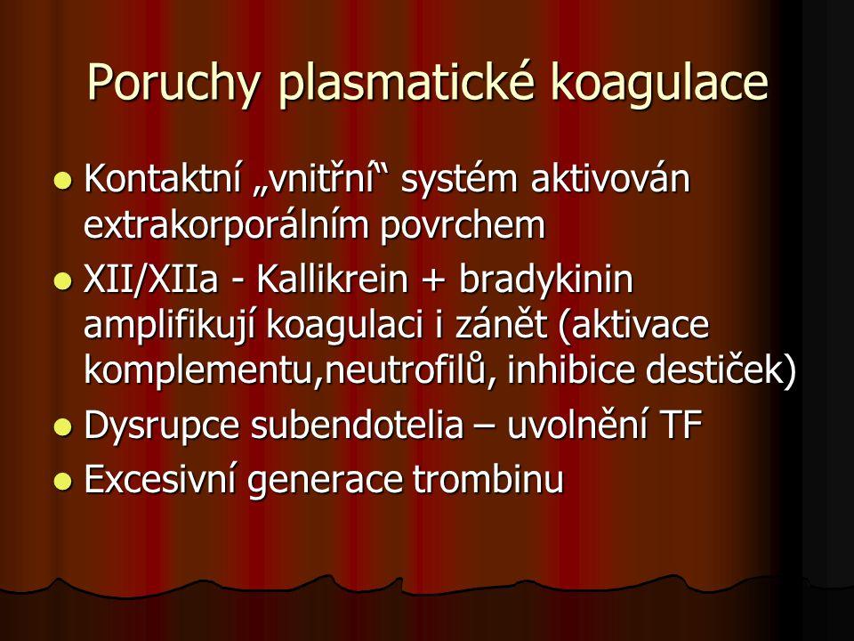 """Poruchy plasmatické koagulace  Kontaktní """"vnitřní"""" systém aktivován extrakorporálním povrchem  XII/XIIa - Kallikrein + bradykinin amplifikují koagul"""