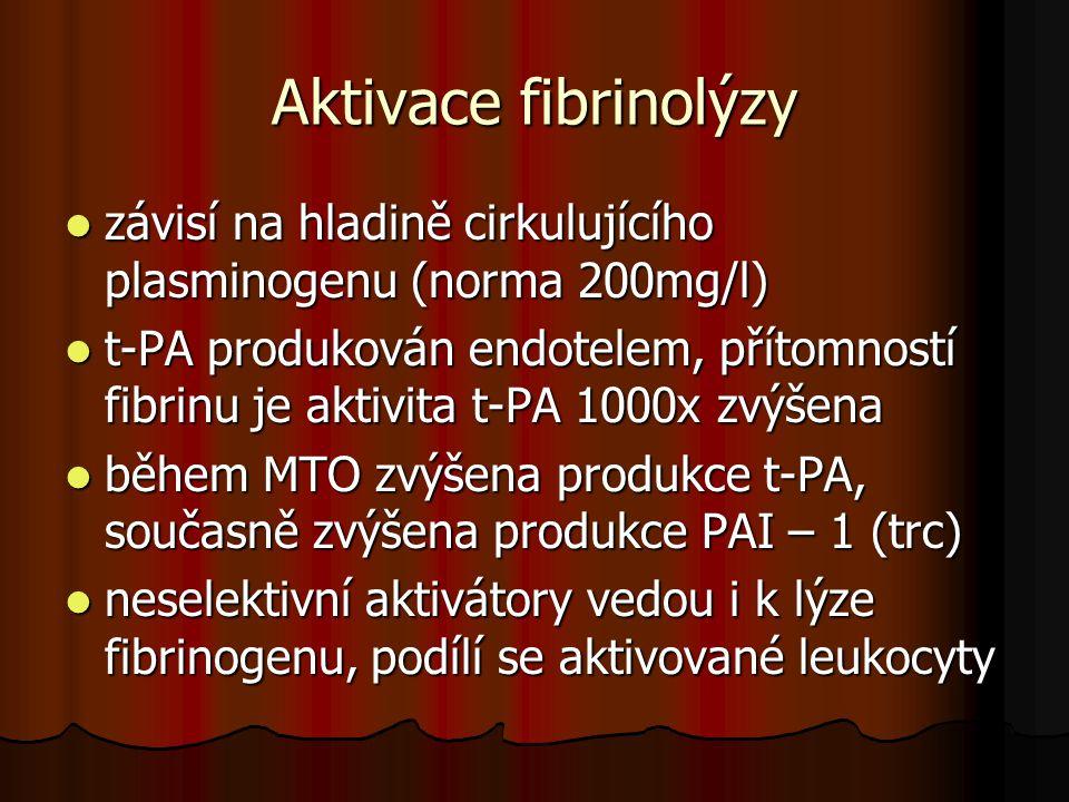 Aktivace fibrinolýzy  závisí na hladině cirkulujícího plasminogenu (norma 200mg/l)  t-PA produkován endotelem, přítomností fibrinu je aktivita t-PA