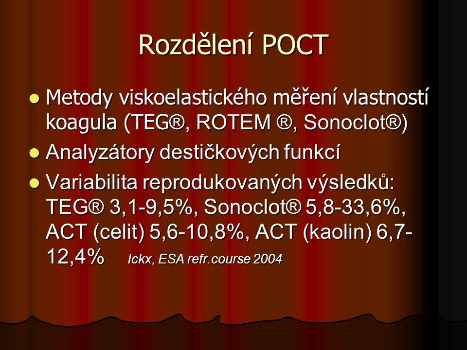Rozdělení POCT  Metody viskoelastického měření vlastností koagula (TEG ®, ROTEM ®, Sonoclot®)  Analyzátory destičkových funkcí  Variabilita reprodu