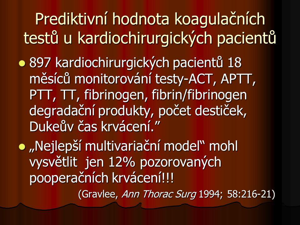 Prediktivní hodnota koagulačních testů u kardiochirurgických pacientů  897 kardiochirurgických pacientů 18 měsíců monitorování testy-ACT, APTT, PTT,
