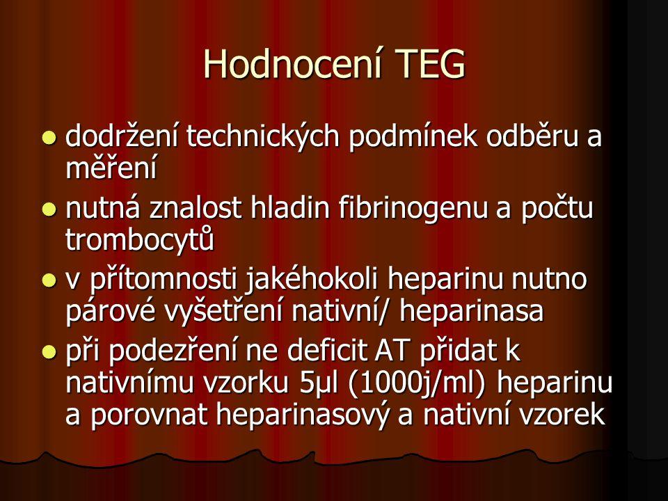 Hodnocení TEG  dodržení technických podmínek odběru a měření  nutná znalost hladin fibrinogenu a počtu trombocytů  v přítomnosti jakéhokoli heparin