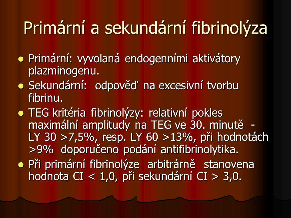 Primární a sekundární fibrinolýza  Primární: vyvolaná endogenními aktivátory plazminogenu.  Sekundární: odpověď na excesivní tvorbu fibrinu.  TEG k