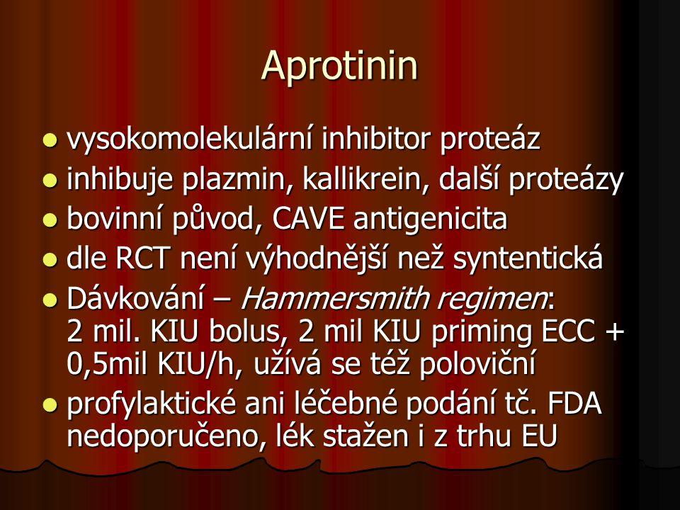 Aprotinin  vysokomolekulární inhibitor proteáz  inhibuje plazmin, kallikrein, další proteázy  bovinní původ, CAVE antigenicita  dle RCT není výhod