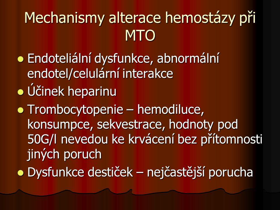 Mechanismy alterace hemostázy při MTO  Endoteliální dysfunkce, abnormální endotel/celulární interakce  Účinek heparinu  Trombocytopenie – hemodiluc