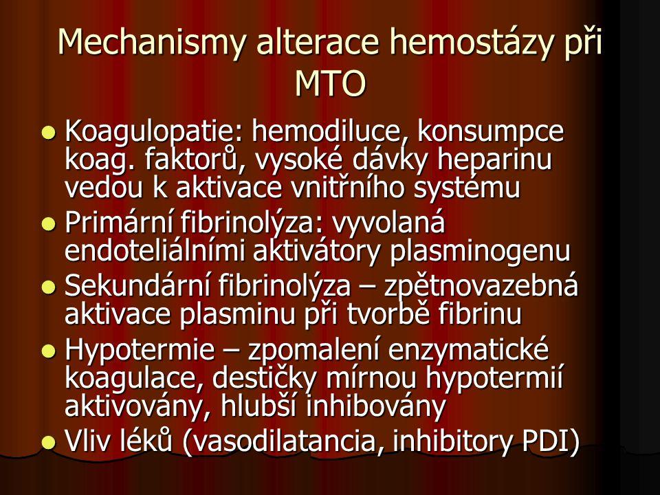 Antikoagulace během MTO  Heparin od 1937 3mg/kg  akcelerace inhibice trombinu antitrombinem  komplex heparin/AT nemůže inaktivovat trombin vázaný na fibrin a destičky  po rozpuštění trombu fibrinolýzou uvolnění aktivního trombinu a zesílení koagulace  Klinické problémy: heparinová resistence, HIT, rebound fenomén, heterogenita a variabilita UFH