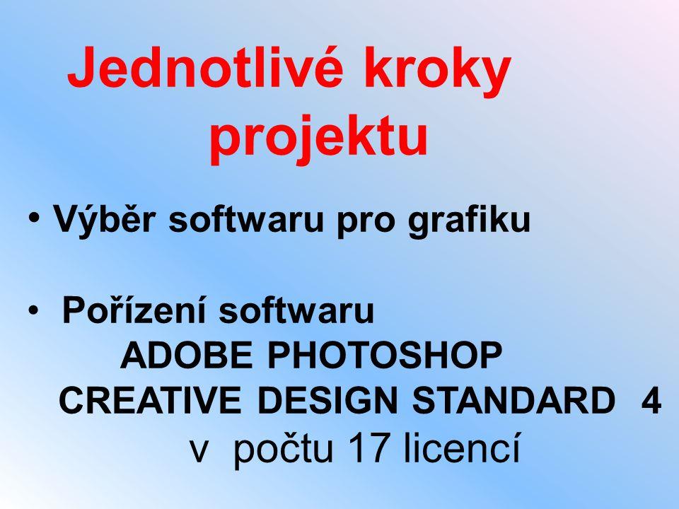 • Výběr softwaru pro grafiku • Pořízení softwaru ADOBE PHOTOSHOP CREATIVE DESIGN STANDARD 4 v počtu 17 licencí Jednotlivé kroky projektu