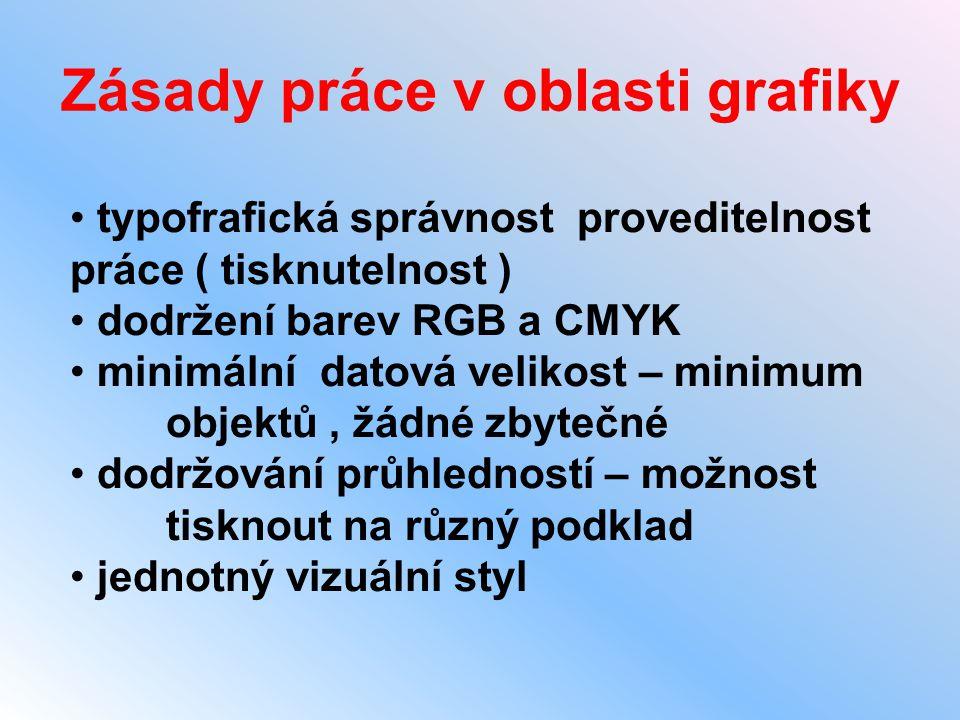 Zásady práce v oblasti grafiky • typofrafická správnost proveditelnost práce ( tisknutelnost ) • dodržení barev RGB a CMYK • minimální datová velikost