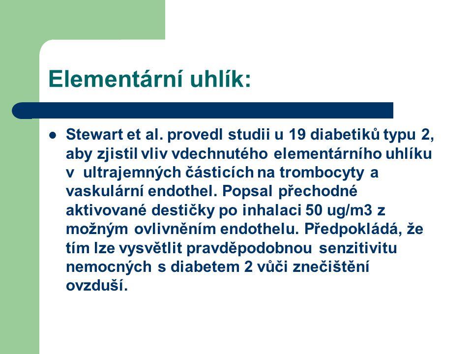Elementární uhlík:  Stewart et al. provedl studii u 19 diabetiků typu 2, aby zjistil vliv vdechnutého elementárního uhlíku v ultrajemných částicích n