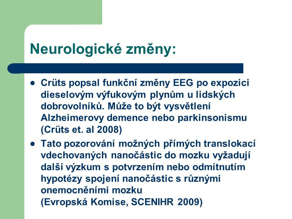 Neurologické změny:  Crüts popsal funkční změny EEG po expozici dieselovým výfukovým plynům u lidských dobrovolníků. Může to být vysvětlení Alzheimer