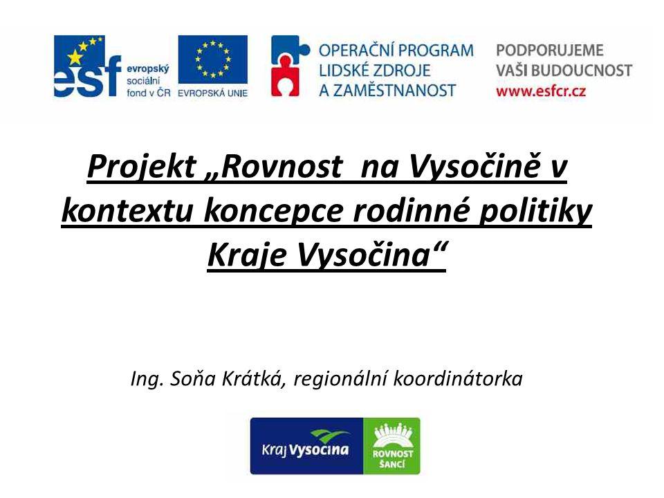 """Projekt """"Rovnost na Vysočině v kontextu koncepce rodinné politiky Kraje Vysočina"""" Ing. Soňa Krátká, regionální koordinátorka"""