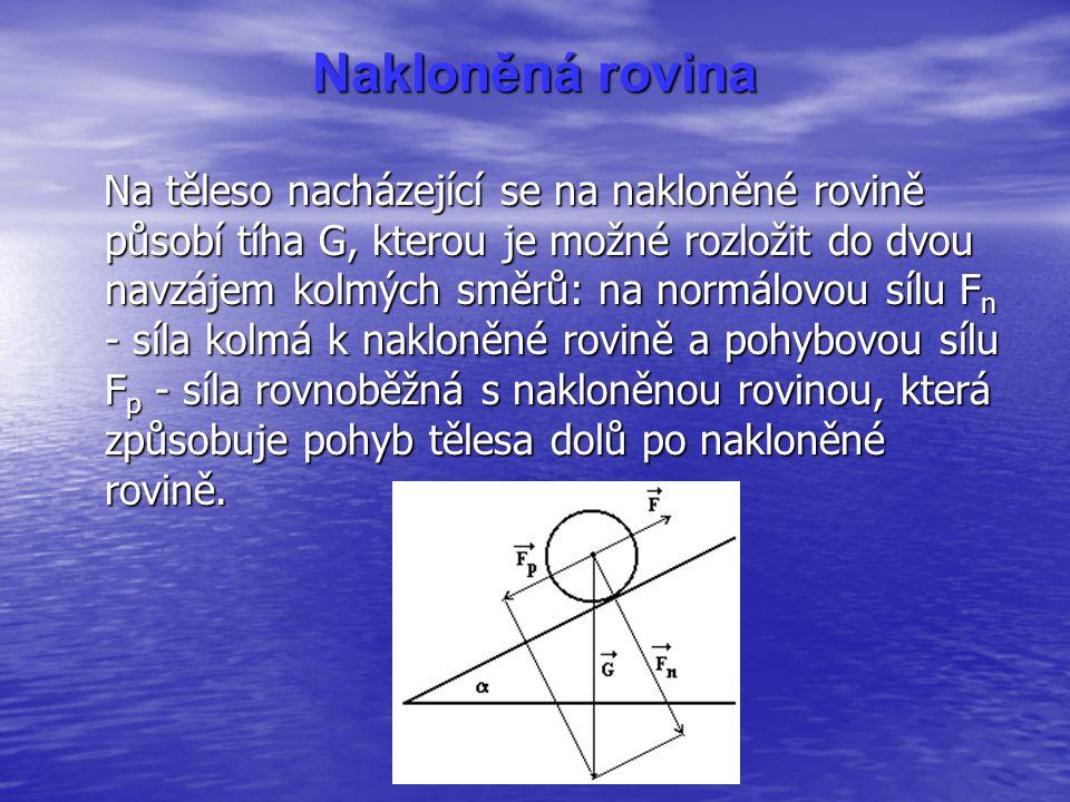 Nakloněná rovina Na těleso nacházející se na nakloněné rovině působí tíha G, kterou je možné rozložit do dvou navzájem kolmých směrů: na normálovou sílu F n - síla kolmá k nakloněné rovině a pohybovou sílu F p - síla rovnoběžná s nakloněnou rovinou, která způsobuje pohyb tělesa dolů po nakloněné rovině.