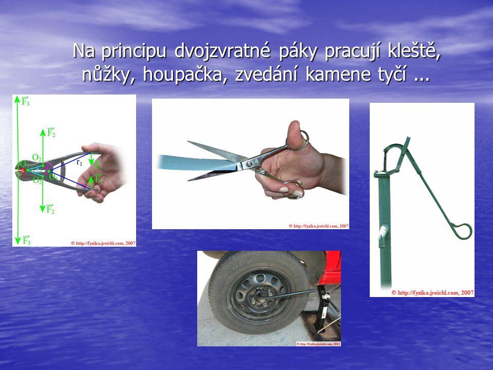 Na principu dvojzvratné páky pracují kleště, nůžky, houpačka, zvedání kamene tyčí...