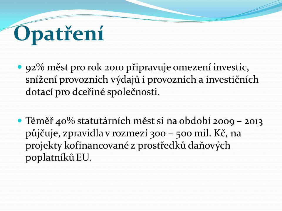 Jaké tedy jsou a zejména budou dopady hospodářské krize na města a obce v ČR.