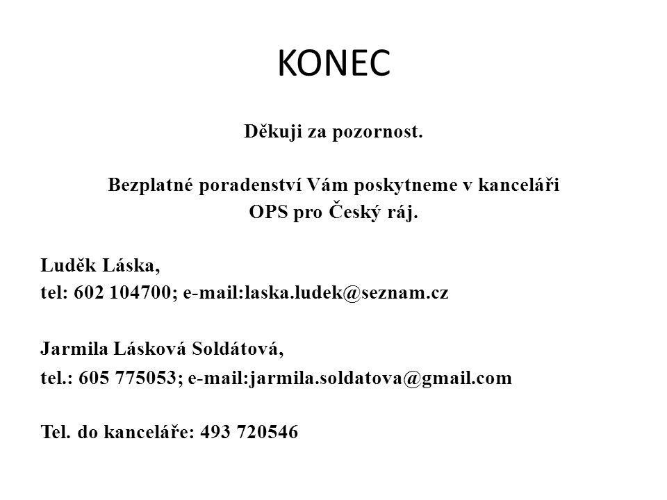 KONEC Děkuji za pozornost. Bezplatné poradenství Vám poskytneme v kanceláři OPS pro Český ráj. Luděk Láska, tel: 602 104700; e-mail:laska.ludek@seznam