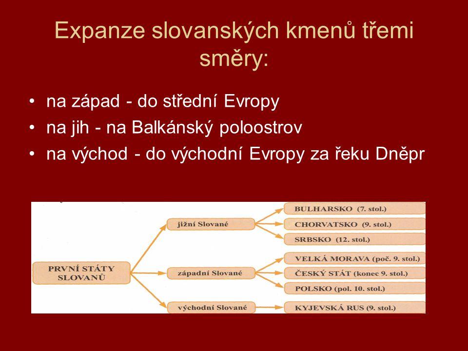 Expanze slovanských kmenů třemi směry: •na západ - do střední Evropy •na jih - na Balkánský poloostrov •na východ - do východní Evropy za řeku Dněpr