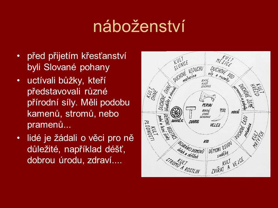 náboženství •před přijetím křesťanství byli Slované pohany •uctívali bůžky, kteří představovali různé přírodní síly.