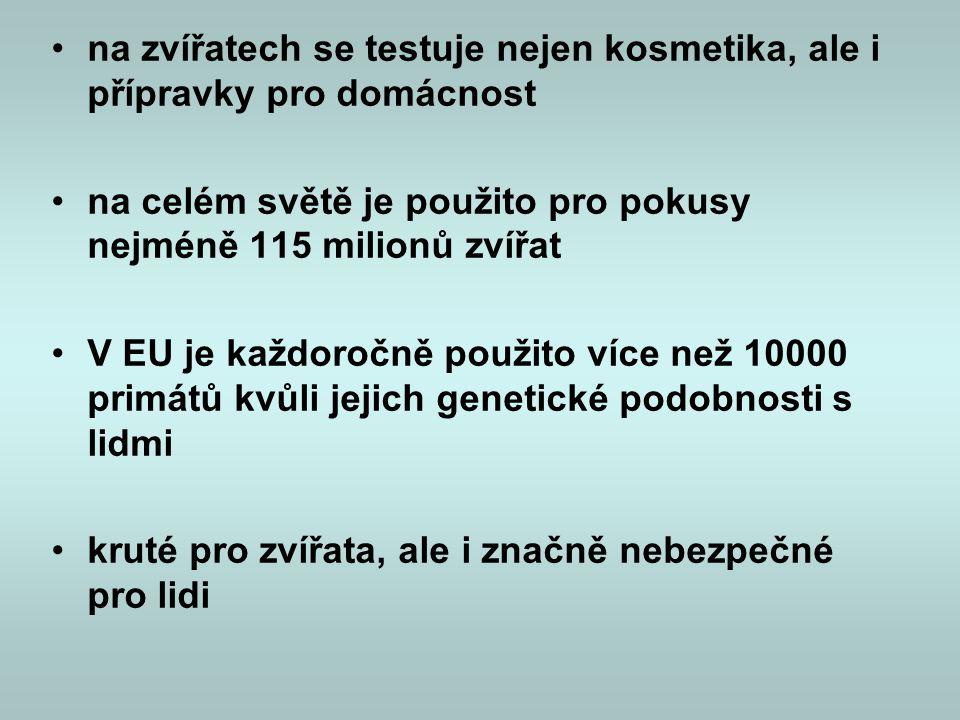 •na zvířatech se testuje nejen kosmetika, ale i přípravky pro domácnost •na celém světě je použito pro pokusy nejméně 115 milionů zvířat •V EU je každ