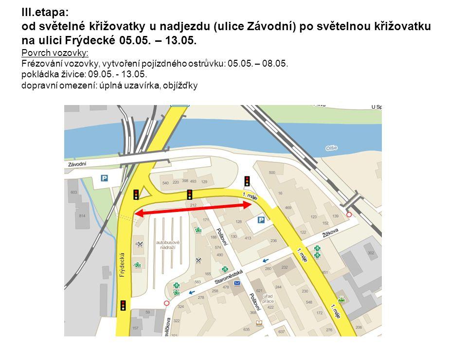 III.etapa: od světelné křižovatky u nadjezdu (ulice Závodní) po světelnou křižovatku na ulici Frýdecké 05.05. – 13.05. Povrch vozovky: Frézování vozov