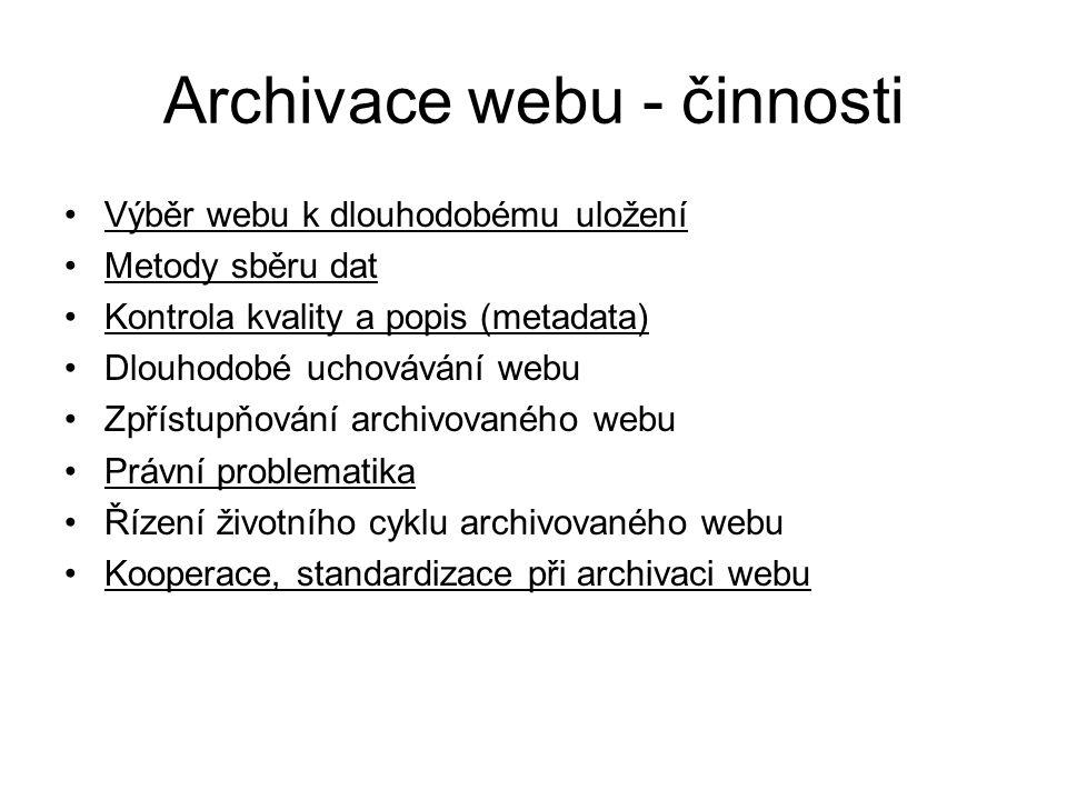 Archivace webu - činnosti •Výběr webu k dlouhodobému uložení •Metody sběru dat •Kontrola kvality a popis (metadata) •Dlouhodobé uchovávání webu •Zpřís
