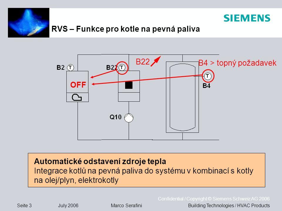 Seite 3 July 2006 Confidential / Copyright © Siemens Schweiz AG 2006 Building Technologies / HVAC ProductsMarco Serafini Automatické odstavení zdroje tepla Integrace kotlů na pevná paliva do systému v kombinací s kotly na olej/plyn, elektrokotly RVS – Funkce pro kotle na pevná paliva OFF B22 B4 > topný požadavek