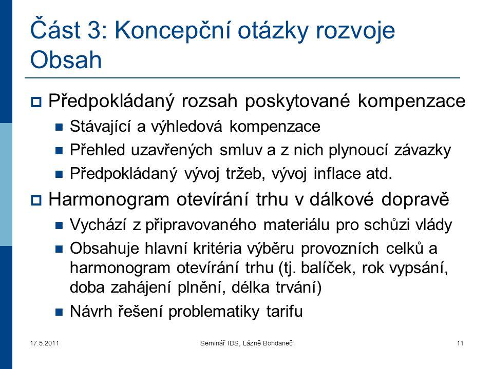17.5.2011Seminář IDS, Lázně Bohdaneč11 Část 3 : Koncepční otázky rozvoje Obsah  Předpokládaný rozsah poskytované kompenzace  Stávající a výhledová k