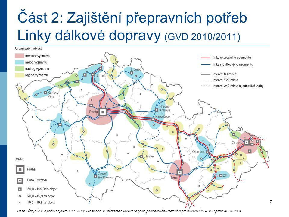 17.5.2011Seminář IDS, Lázně Bohdaneč7 Část 2: Zajištění přepravních potřeb Linky dálkové dopravy (GVD 2010/2011) Pozn.: údaje ČSÚ o počtu obyvatel k 1