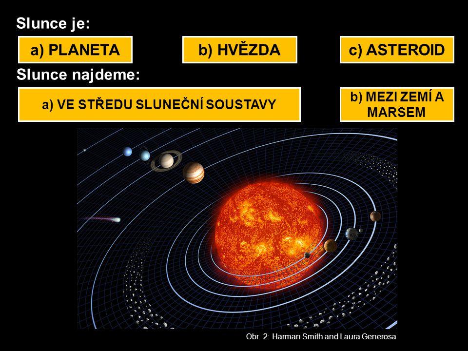 Slunce je: a) PLANETAb) HVĚZDAc) ASTEROID Slunce najdeme: a) VE STŘEDU SLUNEČNÍ SOUSTAVY b) MEZI ZEMÍ A MARSEM Obr. 2: Harman Smith and Laura Generosa