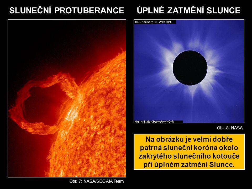 Obr. 7: NASA/SDO AIA Team SLUNEČNÍ PROTUBERANCEÚPLNÉ ZATMĚNÍ SLUNCE Obr. 8: NASA Na obrázku je velmi dobře patrná sluneční koróna okolo zakrytého slun