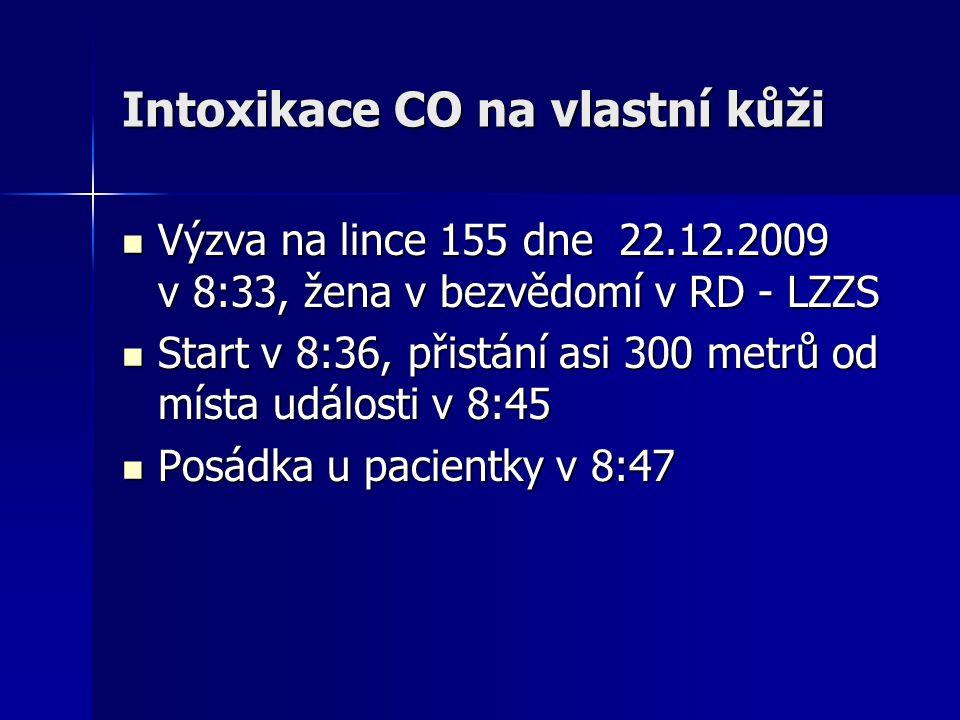 Intoxikace CO na vlastní kůži  Výzva na lince 155 dne 22.12.2009 v 8:33, žena v bezvědomí v RD - LZZS  Start v 8:36, přistání asi 300 metrů od místa