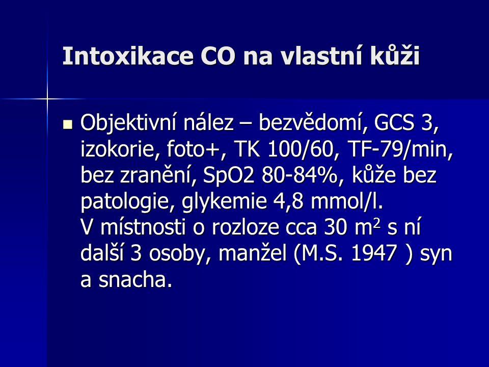 Intoxikace CO na vlastní kůži  Objektivní nález – bezvědomí, GCS 3, izokorie, foto+, TK 100/60, TF-79/min, bez zranění, SpO2 80-84%, kůže bez patolog