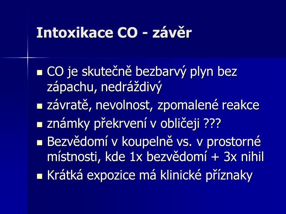 Intoxikace CO - závěr  CO je skutečně bezbarvý plyn bez zápachu, nedráždivý  závratě, nevolnost, zpomalené reakce  známky překrvení v obličeji ???