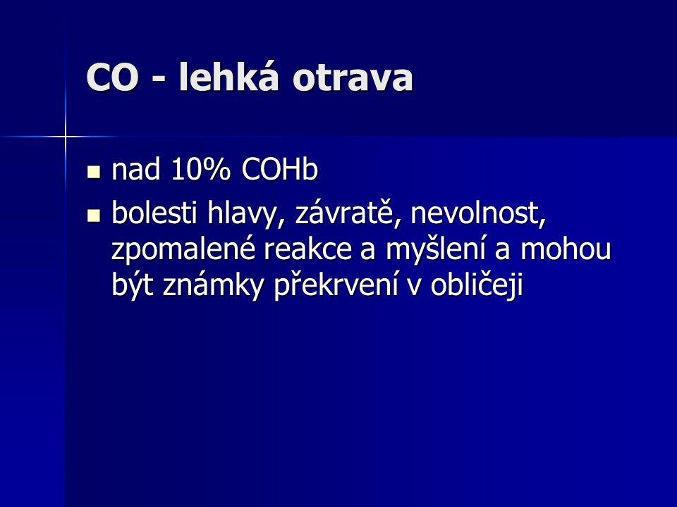 CO - lehká otrava  nad 10% COHb  bolesti hlavy, závratě, nevolnost, zpomalené reakce a myšlení a mohou být známky překrvení v obličeji