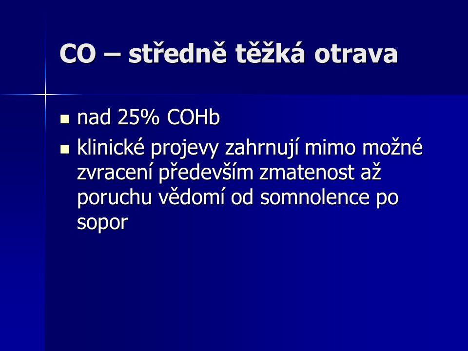 CO – středně těžká otrava  nad 25% COHb  klinické projevy zahrnují mimo možné zvracení především zmatenost až poruchu vědomí od somnolence po sopor