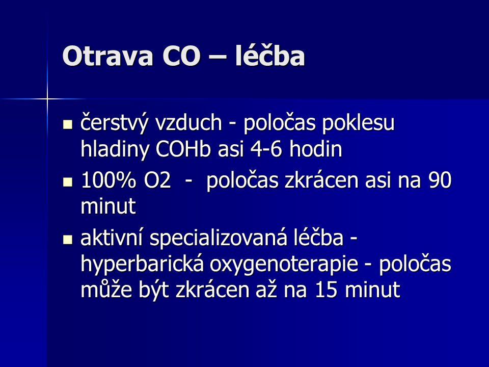Otrava CO – léčba  čerstvý vzduch - poločas poklesu hladiny COHb asi 4-6 hodin  100% O2 - poločas zkrácen asi na 90 minut  aktivní specializovaná l