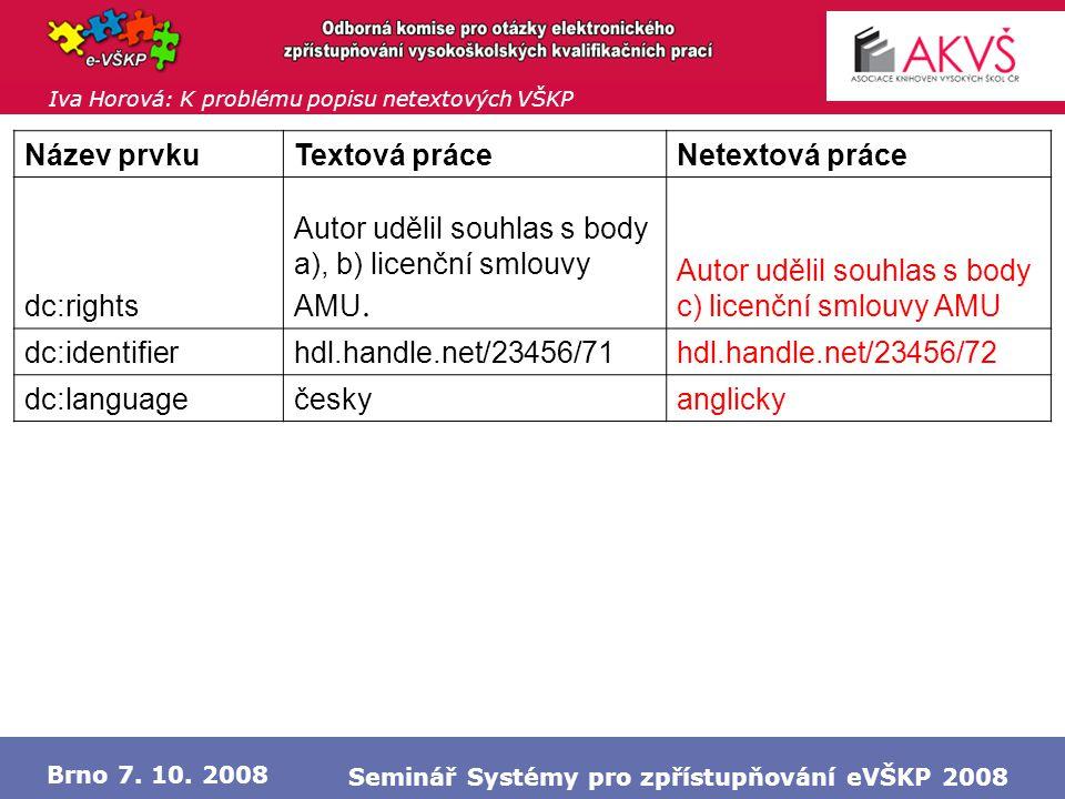 Iva Horová: K problému popisu netextových VŠKP Brno 7.