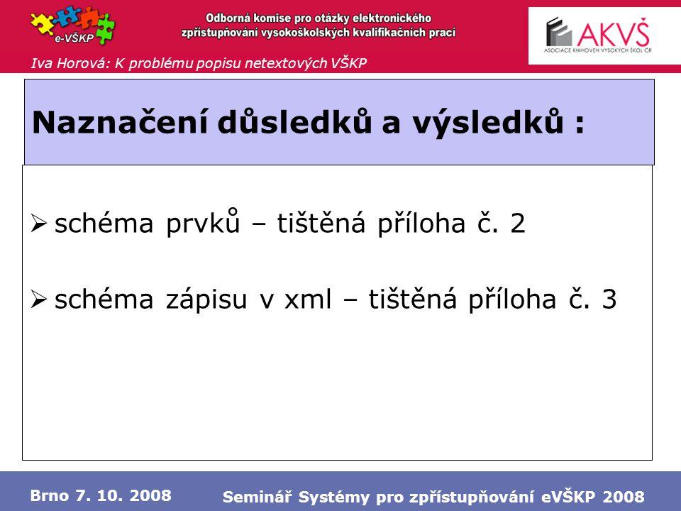 Iva Horová: K problému popisu netextových VŠKP Brno 7. 10. 2008 Seminář Systémy pro zpřístupňování eVŠKP 2008 Naznačení důsledků a výsledků :  schéma
