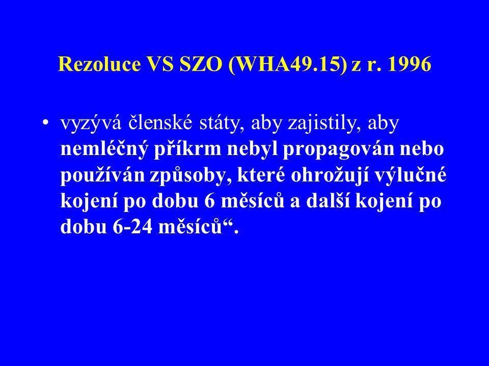 Rezoluce VS SZO (WHA49.15) z r. 1996 •vyzývá členské státy, aby zajistily, aby nemléčný příkrm nebyl propagován nebo používán způsoby, které ohrožují