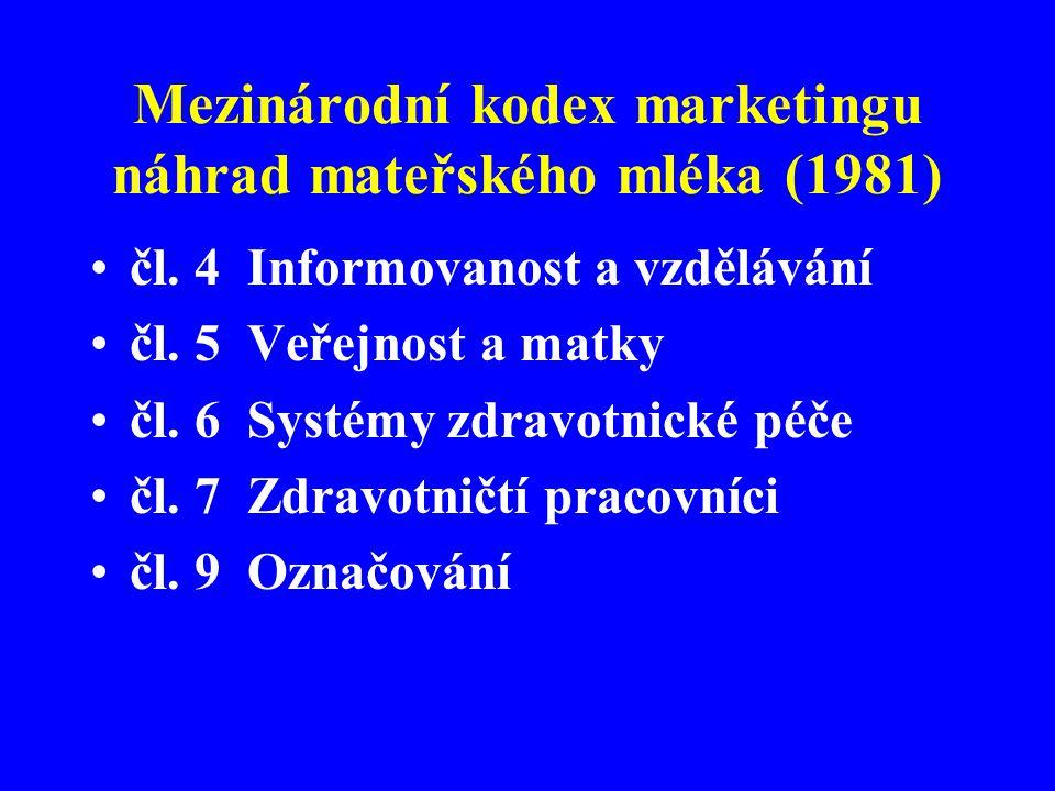 Mezinárodní kodex marketingu náhrad mateřského mléka (1981) •čl. 4 Informovanost a vzdělávání •čl. 5 Veřejnost a matky •čl. 6 Systémy zdravotnické péč
